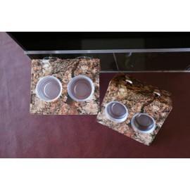Double Feeding Ledge - Cork Bark Design